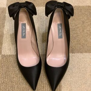 SJP Black Satin Pump with bow in back